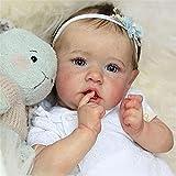 GLXLSBZ Reborn Baby Doll muñecas realistas Realistic Reborn Baby Doll s Grey Eyes Girls Full Silicone Doll 58Cm New Rebirth Doll
