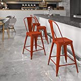 Flash Furniture Commercial Grade 24' High Distressed Kelly Red Metal Indoor-Outdoor Counter Height Stool with Back