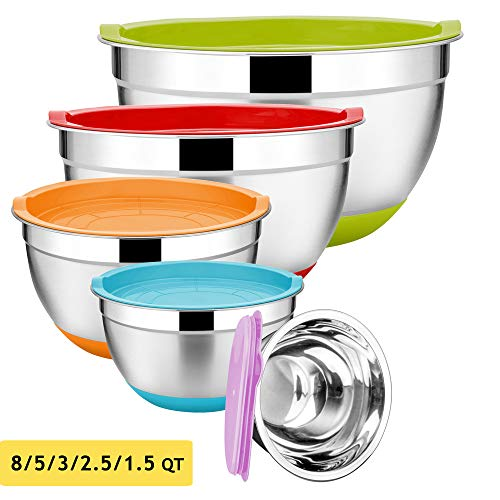 Stainless Steel Mixing Bowls Set of 5 Size 8/5/3/25/15 QT Efar Metal Nesting Bowls with Colorful Airtight Lids Measurement Marks amp NonSlip Bottoms Great for Cooking Baking Serving Food Prep
