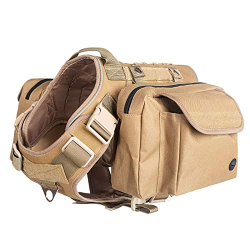 VICARKO Tactical Dog Harness, Dog Vest Harness, for Large and Medium Dogs, with No Pull Handle, Leash Clip, MOLLE System for Heavy Duty, for Walking, Hiking, Hunting, Brown, with MOLLE Pouch