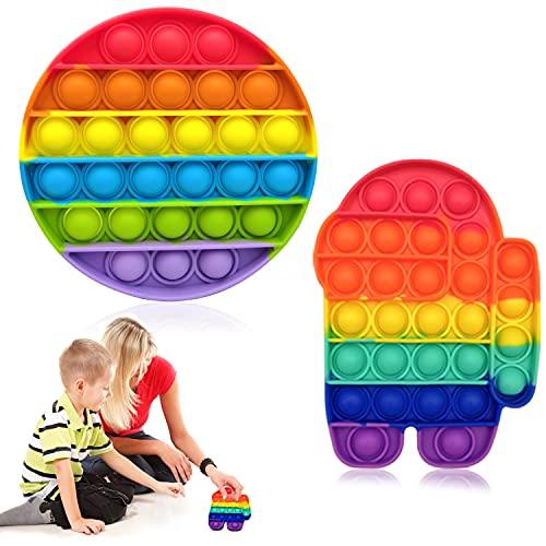 Hossom 2Pcs Push and Pop Bubble Sensory Toy, Popit Fidget-Toys, Juguete Sensorial Antiestrés, Pops' It Sensorial Among us para Niños y Adultos, para Aliviar el Estrés y la Ansiedad