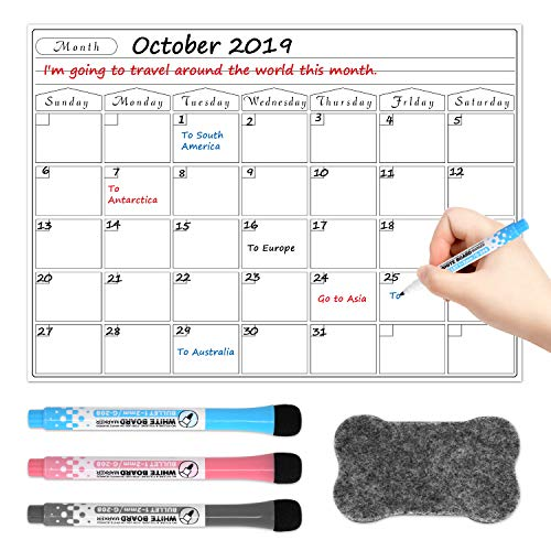 Fridge Calendar, Dry Erase Calendar Magnetic Calendar Whiteboard Reusable Monthly Calendar Planner Keeps You Organized for Home Office Classroom, 3 Markers & 1 Eraser