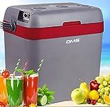 DMS® thermoelektrische Kühltasche 33 L | Gefriertasche | Getränkebox | Kühl- und Warmhaltefunktion | Auto und LKW | Camping | 12-24 V | grau-rot