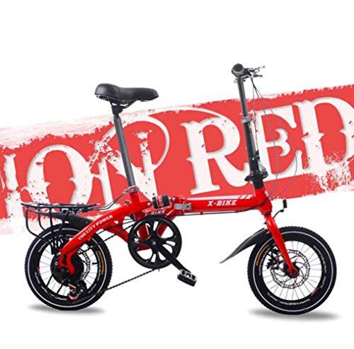 SHIN Bicicleta Plegable De 16 Pulgadas De Aluminio para Unisex Adultos, Niños, Viaje Urban Bici Ajustables Manillar Y Confort Sillin,Capacidad 120kg / Red / 14in
