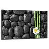 TMK | Placa de 80 x 52 cm, 1 pieza, cubierta de vitrocerámica de inducción, protección contra salpicaduras, placa de cristal decorativa, tabla de cortar, color negro de bambú