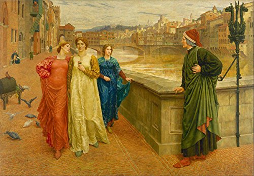 Gifts Delight Laminated 16x11 Poster: Dante Gabriel Rossetti - Dante and Beatrice Painting