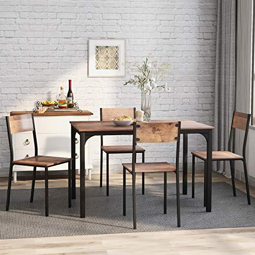 Takefuns Juego de mesa de comedor y silla de 4 marcos de madera de acero estilo industrial, estilo retro, mesa de comedor de cocina (marrón rústico)