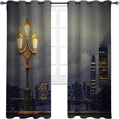 """HouseLookHome Bedroom Curtain Night Soundproof Window Curtain Panels Westminster Bridge London City UK Stormy Moody Weather European Urban Travel 2 Grommet Top Curtain Panels,42"""" W x 84"""" L"""