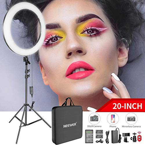 Photo of Neewer 20-inch LED Ring Light Kit: (1)44W Dimmable Circle Light (1)2M Pro Light Stand(1)Ball Head(1)Phone Holder(2)Li-ion Battery(1)USB Charger for Portrait Photography Video Make-up Selfie
