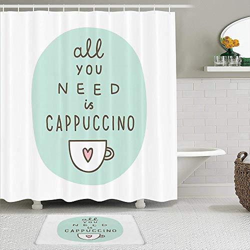 BCVHGD Duschvorhang-Sets mit rutschfesten Teppichen,Alles was Sie brauchen EIN Cappuccino Zitat m, Badematte + Duschvorhang mit 12 Haken