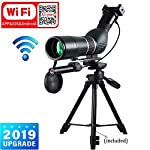 Aliynet 20-60x60mm Spotting Scope Night Vision Telescope,Infrared Night Vision Monocular with Wireless WiFi Connect to Smartphone APP,with Big Tripod&Phone Adapter for Outdoor Trip night watcing