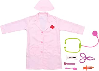 1pc Girls Nurse Costume Comfortable Pink Creative Stage Uniform Role Play Costume Dress up Costume for Party/XL