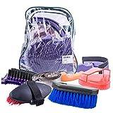 CLBING Horse Brush Set - Kit De Aseo para Caballos Equestrain Brush Comb Juego De Herramientas De Limpieza para Caballos 8 Piezas