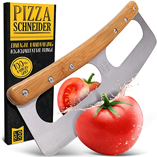 Loco Bird Pizzaschneider - Pizzamesser aus Edelstahl mit Bambusgriff - Pizzacutter mit Klingenschutz - Vielseitig einsetzbares Wiegemesser - scharfe Edelstahl Klinge & robuster Griff
