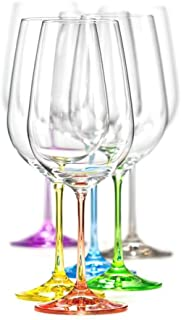 Bohemian Crystal Set of 6 White Wine Crystal Glasses 12 Oz Each Stem Different Color Czech Republic LEAD FREE
