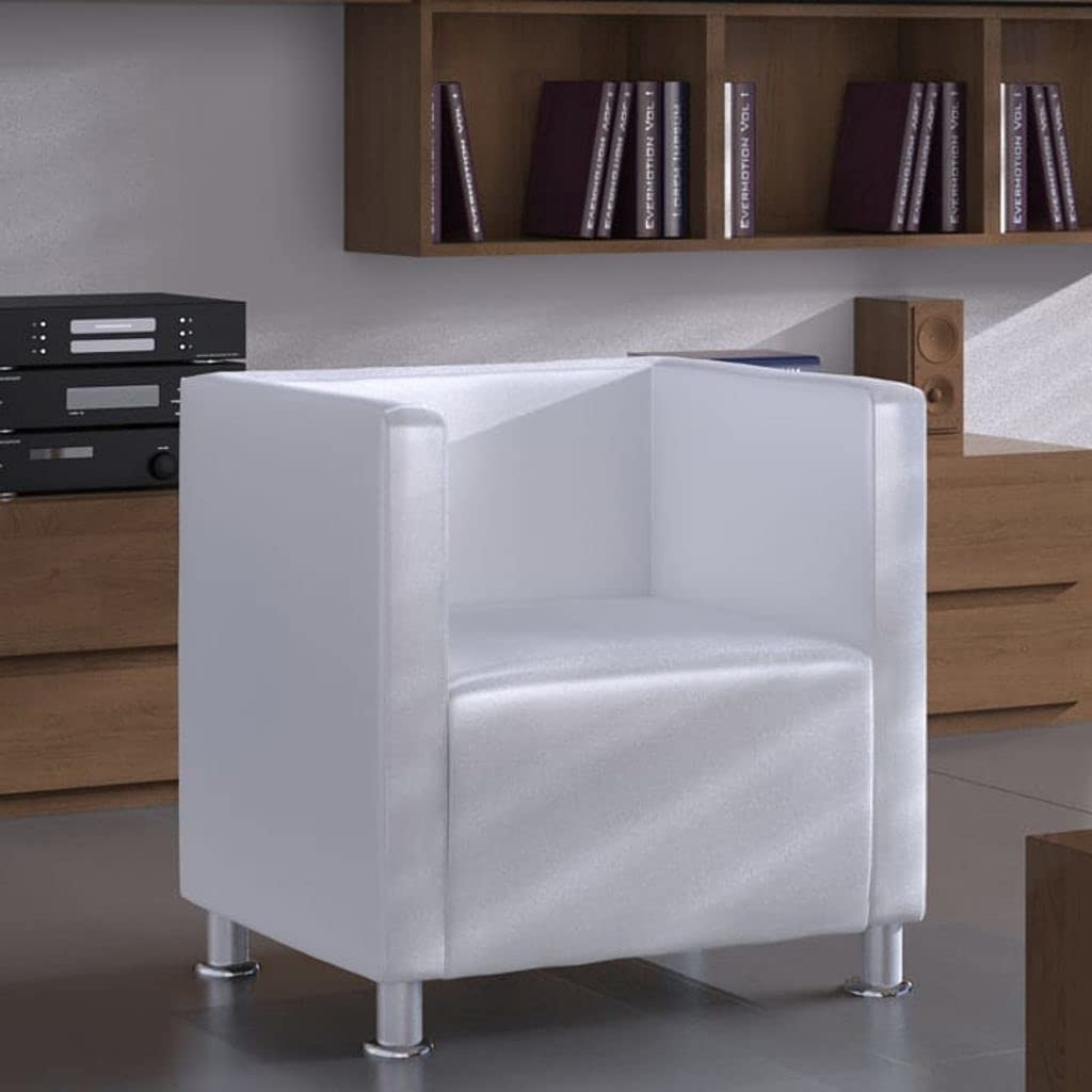 Armchair supreme White Faux Leather Cozy Bedroom Chair Over item handling ☆ Rec for