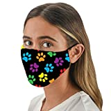 Snoozies 3-Layer Washable Face Mask w Filters & Nose Bridge - Multi Dog Paws