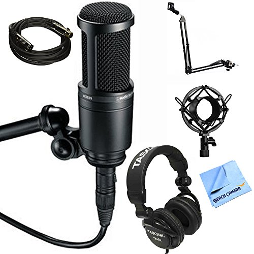 Audio-Technica Side Address Cardioid Condenser Studio Microphone (AT2020) with Microphone Suspension Arm Stand, Metal Microphone Shock Mount, Microfiber Cloth Gold Plated Cable & Studio Headphones