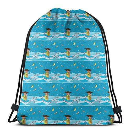 LLiopn Drawstring Sack Backpacks Bags,Kid Angel with Hearts Above Night Clouds Moon Shooting Stars Cartoon,Adjustable.,5 Liter Capacity,Adjustable.