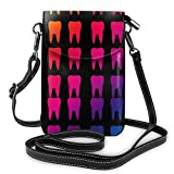 XCNGG bolso del teléfono Fashion Crossbody Cell Phone Purse - Colourful Teeth Molars Dental Black - Women PU Leather smart phone Shoulder Pouch Handbag with Adjustable Strap