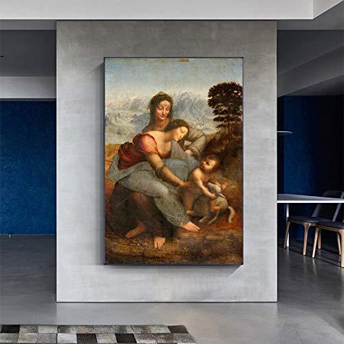wZUN Reproducción de Lienzo de la Virgen y el Niño y Santa Ana, murales Famosos para decoración del hogar, Impresiones 60X90 Sin Marco