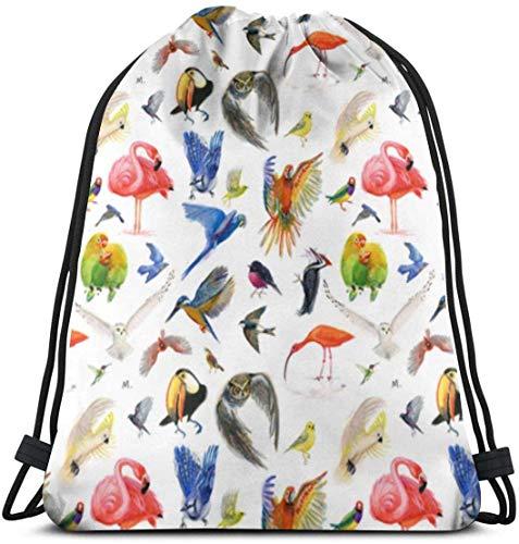 March flowers Rainbow Birds 3D Print Drawstring Backpack Rucksack Shoulder Bags Gym Bag for Adult 16.9\