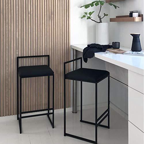 Moderno Juego de taburetes de 2 PCS, sillas de Comedor de Terciopelo, Asiento tapizado en Tela con Patas de Metal Negro, Silla de salón de Vestir, Altura del Asiento 75 cm.