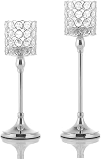 VINCIGANT Set of 2 Home Decor Crystal Silver Candle Holders for Dinning Room Wedding Table Centerpieces,Christmas/Thanksgiving/Housewarming/Anniversary Gifts,12 and 14 Inches Tall