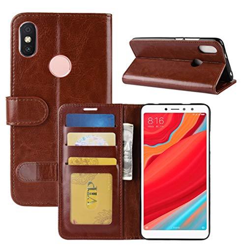 HualuBro Xiaomi Redmi S2 Hülle, Retro PU Leder Leather Wallet HandyHülle Tasche Schutzhülle Flip Hülle Cover für Xiaomi Redmi S2 Smartphone - Braun