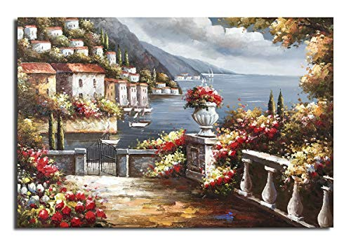 Paimuni 100% Hand Painted Canvas Wall Art Italy Town Mediterranean Tuscany Sea Coast Flowers Oil Painting Stretched and Framed Ready to Hang Landscape Scenery Wall Decor 36x24inch