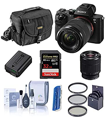 Sony Alpha a7II Digital Camera with FE 28-70mm f/3.5-5.6 OSS Lens - Bundle with Camera Case, 32GB Class 10 SDHC Card, Filter Kit (UV/CPL/ND2), Clean Kit, SD Card Reader, Card Wallet by Sony