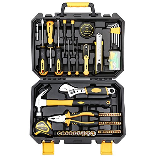 DEKO 100点 ホームツールセット 工具セット 家庭用 日曜大工 DIYセット 作業工具セット 家具の組み立て 住まいのメンテナンス用 修理道具セット 便利な収納ケース付き