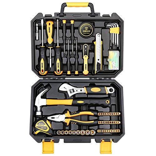 DEKOPRO 100 Piece Home Repair Tool SetS,Plastic Tool Box Storage with General Household Hand Tool Kit