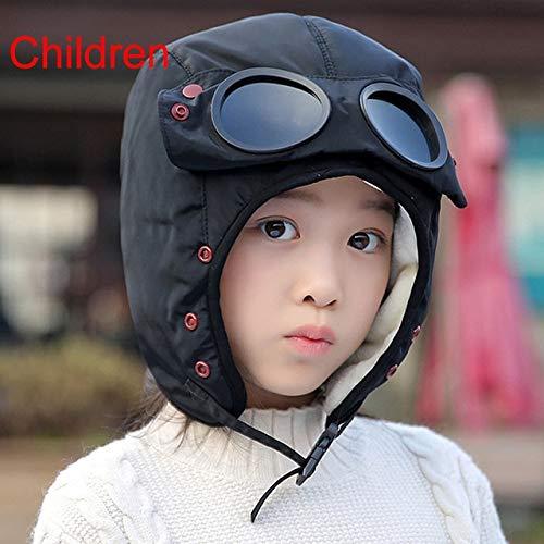 Gorra cálida Invierno Hombres Sombreros de Invierno para Mujeres niños Sombrero con Capucha Impermeable con Gafas Fresco-Children-Black-One Size