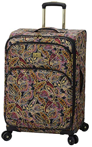 LONDON FOG Cranford Softside Expandable Spinner Luggage, black gold plum paisley, Checked-Medium 25-Inch