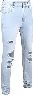 Men's Skinny Jeans Tight Fit Ripped Jeans, Elastic Leggings Jean Skinny Trouser Hole Pencil Jeans Denim