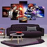 Impresiones en lienzo 5 piezas The King of Fighter 97 Kyo Kusanagi VS Iori Yagami Game Poster HD imágenes pinturas arte de la pared decoración del hogar