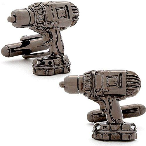 Men's Executive Gunmetal Tone Power Drill Hand Tool Cufflinks Cuff Links