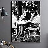 Zqcay Artista Parisino Carteles de café al Aire Libre de Color Retro y Pinturas al óleo Cuadros de Pared para Sala de Estar Dibujar Lienzo Pintura Cartel de Arte-Sin Marco_60X80 cm