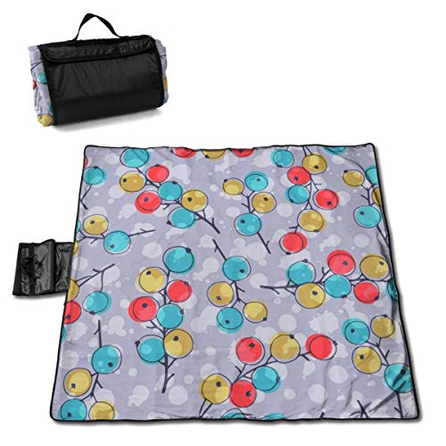 Olie Cam Bunte Johannisbeer-Beeren-Picknickdecke mit wasserdichter Picknickmatte für den Außenbereich