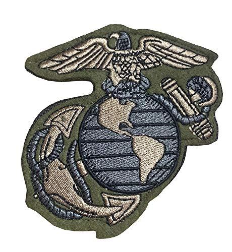 US Military Troops U.S. Marine Corps USMC Globe Eagle Anchor Tactical Emblem Badge Hook & Loop Embroidered Patch for Backpack Jacket Vest Military Uniform -Green 4'