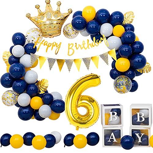 6er Decoración de Cumpleaños para Niños, SPECOOL Globos Azul Marino, Pancarta de Feliz Cumpleaños Incluida, para 6 año de edad Decoración de Cumpleaños para Bebé Niño