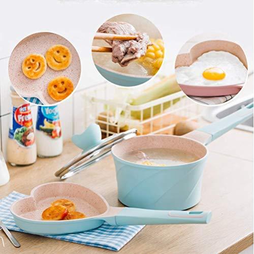 Recipiente para leche caliente, sartén, sartén ant Set de cacerola de 2 piezas, tapa y cuchara de pila antiadherente para bebé, 7 pulgadas de cacerola de leche, comida saludable Haike ( Color : Blue )