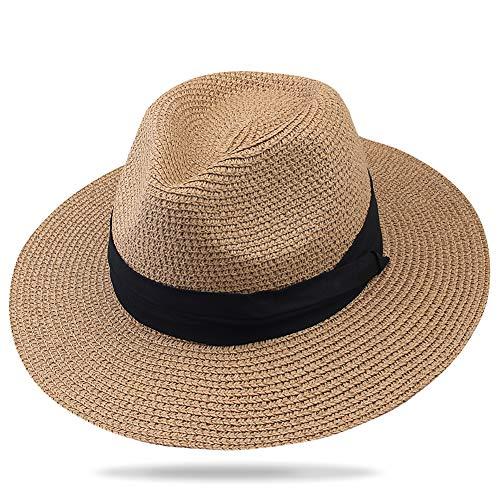FURTALK Panama Hat Sun Hats for Women Men Wide Brim Fedora Straw Beach Hat UV UPF Brown