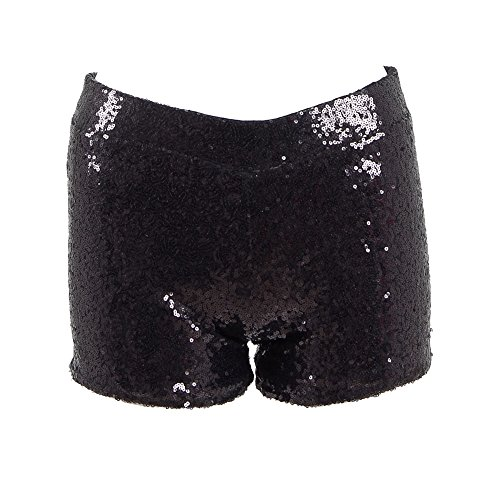 Fan Kouyang Damen Sequin Shine Glitter Shorts Paillette verschönert Party Kurze Hose (M, Schwaz)