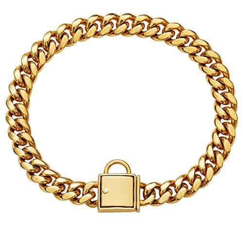 PMG - Collar de cadena de oro de 14 mm para perro de acero inoxidable Bulldog Pitbull para perro pequeño Big Dog Collar de la correa de los productos para mascotas 3XL 14 mm x 65 cm