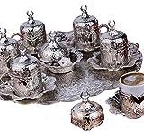 High End - Set da caffè in metallo placcato argento, per caffè turco, arabo, greco e espresso per 6 persone, prodotto in Turchia, set da 27 pezzi, con ciotola, colore: argento