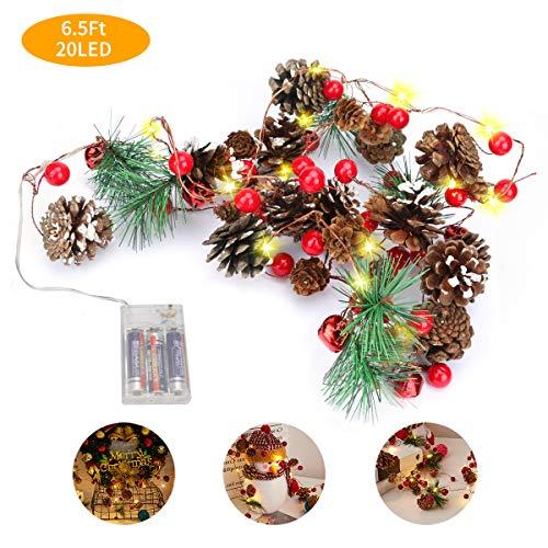 E-More Weihnachtslichterketten mit Tannenzapfen Rote Beerenglocke, Girlande mit Lichtern 6.5Ft 20LED Warmweiß Batteriebetriebenes Weihnachtsbaumdekorlicht für Weihnachtsfeiertags-partydekoration