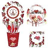 93 Piezas Juego de Cubiertos Desechables- Sirve para 8 invitados Incluye de platos, vasos, servilletas y pajitas, se utiliza de San Valentín Fecha de Propuesta Aniversario de Boda