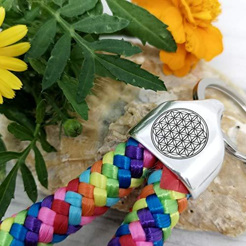 Blume des Lebens - Schlüsselanhänger - LASERgravur - dicke Kordel/Tampen - Schlüsselring - Lebensblume - 9 Kreise - Flower of Life - Klarheit - Meditation - Harmonie - Regenbogen bunt